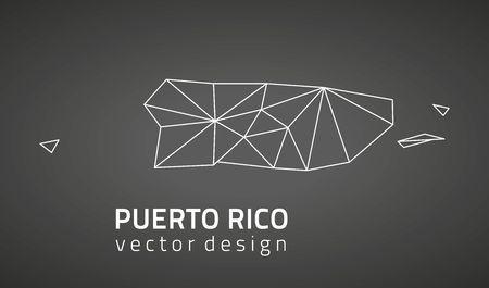 Puerto Rico Vektorgrafik Perspektive schwarz Umriss Karten Standard-Bild - 72267767