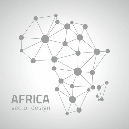 africa outline: Africa triangle outline vector graphic gray dot map