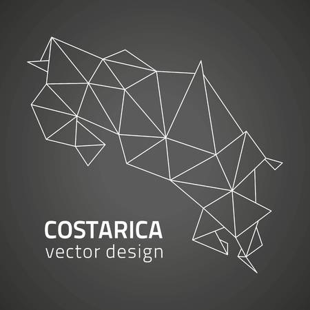 transverse: Costarica black polygonal contour map of America