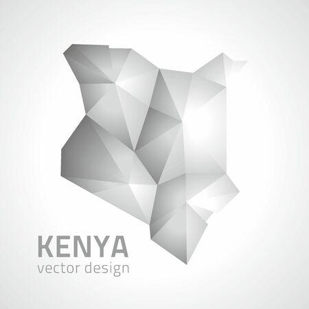 Kenya gray and silver vector polygonal map perspective Illustration