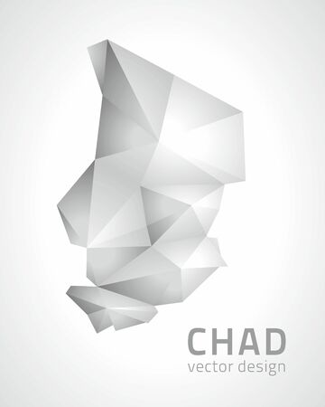 transverse: Chad mosaic vector gray triangle 3D map perspective Illustration