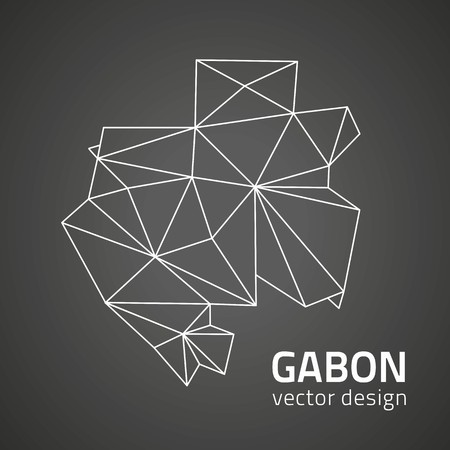 Gabon Outline Black Triangle Perspective Vector Map Royalty Free - Gabon blank map