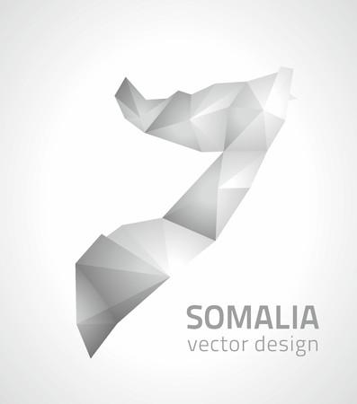 Somalia polygonal gray modern mosaic 3d vector maps