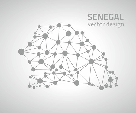 dakar: Senegal gray dot vector graphic triangle geometry modern maps Illustration