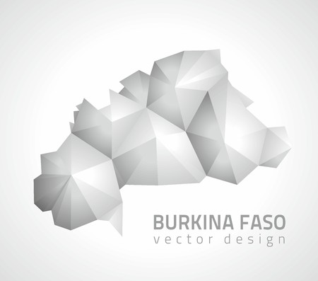 savour: Burkina Faso vector polygonal design triangle gray and silver maps