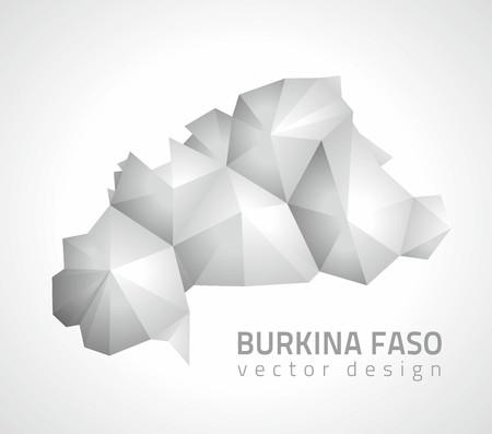 Burkina Faso vector polygonal design triangle gray and silver maps