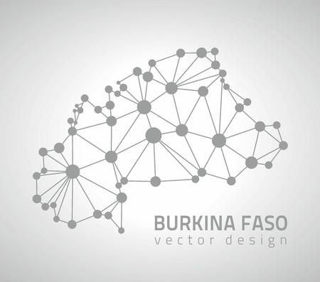 transverse: Burkina Faso gray graphic vector dot triangle contour maps Illustration