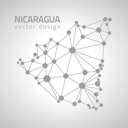 transverse: Nicaragua gray outline dot vector map of America