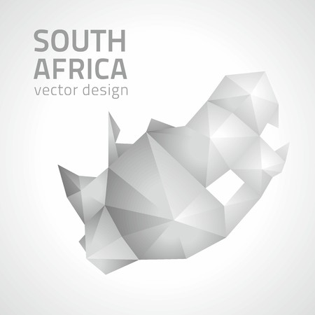 Republic of South Africa gray and silver triangle perspective map
