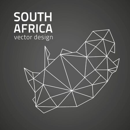 South Africa black outline design perspective polygonal vector map