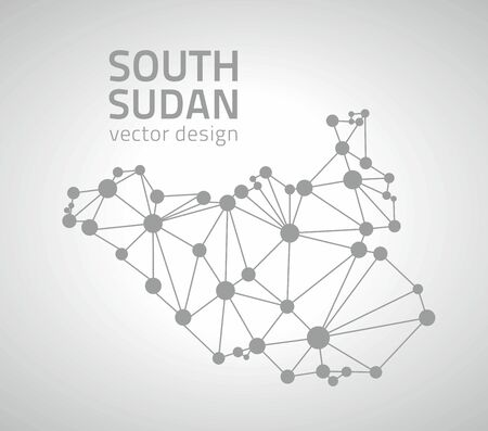 transverse: South Sudan gray dot perspective vector outline maps