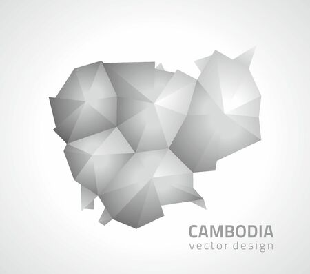 Cambodia perspective mosaic vector gray map