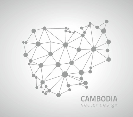 Cambodia mosaic dot outline vector gray map