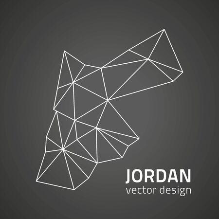 Jordan black outline mosaic vector map Ilustrace