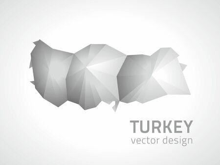 Turkey polygonal mosaic vector gray map