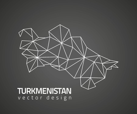 Turkmenistan outline black triangle vector mosaic map