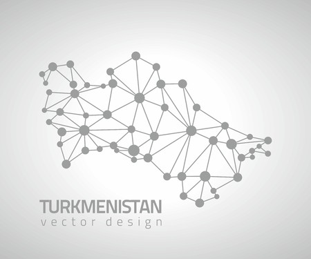 Turkmenistan gray mosaic contour vector map