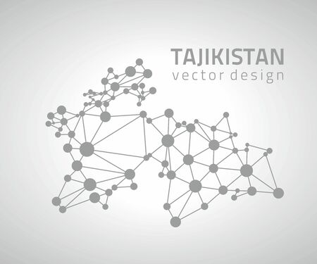 Tajikistan vector gray outline perspective map