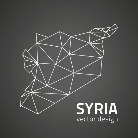 Syria black vector contour triangle perspective map Ilustrace
