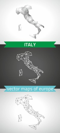 Italy. Set vector graphic maps of Italy, polygonal, gray, mosaic, triangle illustrations Illustration