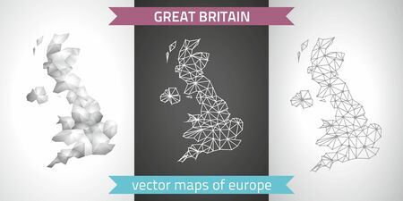 United kingdom collection of modern design vector maps, gray and black and silver mosaic 3d dot contour maps Illustration