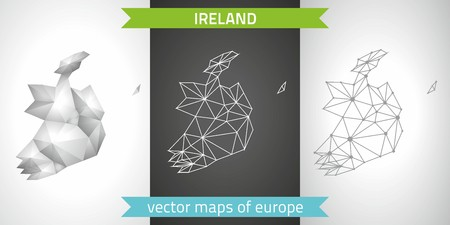 belfast: Ireland. Set vector graphic maps of Ireland, polygonal, gray, mosaic, triangle illustrations
