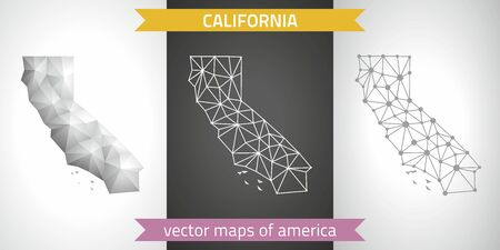 California collection of vector design modern maps, gray and black and silver dot mosaic 3d map