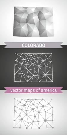 Colorado gray vector mosaic 3d polygonal maps