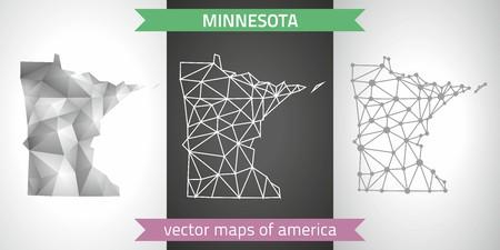 Minnesota set of gray and silver mosaic 3d polygonal maps. Graphic modern maps. Çizim