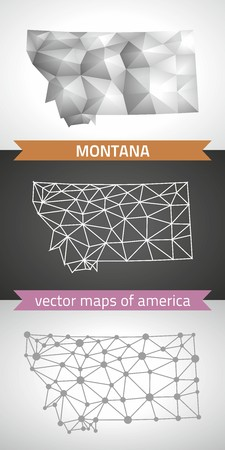 Montana set of gray and silver mosaic 3d polygonal maps. Graphic vector triangle geometry outline shadow perspective maps