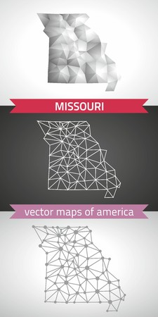 jefferson: Missouri set of gray and silver mosaic 3d polygonal maps. Graphic vector triangle geometry outline shadow perspective maps Illustration