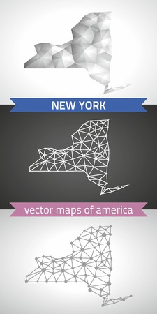 New York set of gray and silver mosaic 3d polygonal maps. Graphic vector triangle geometry outline shadow perspective maps