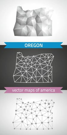 Oregon set of gray and silver mosaic 3d polygonal maps. Graphic vector triangle geometry outline shadow perspective maps