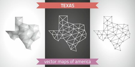 Texas set of gray and silver mosaic 3d polygonal maps. Graphic vector triangle geometry outline shadow perspective maps