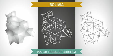 Bolivia set of gray and silver mosaic 3d polygonal maps. Graphic vector triangle geometry outline shadow perspective maps Illustration