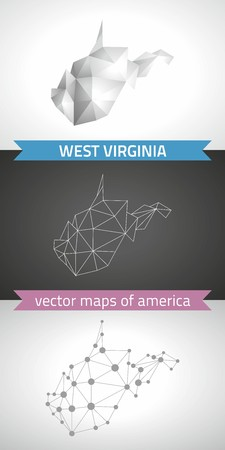 3d virginia: West Virginia. Set graphical vector maps of West Virginia, polygon, gray, mosaic, triangle illustrations