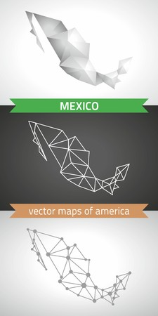 Mexico collection of vector design modern maps, gray and black and silver dot outline mosaic 3d map Çizim