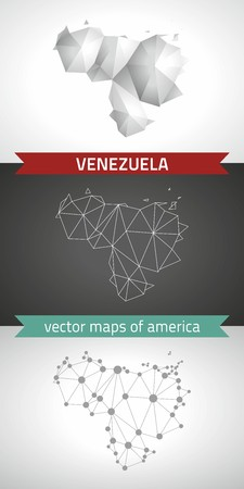 Venezuela. Set graphical vector maps of Venezuela, polygon, gray, mosaic, triangle illustrations Çizim