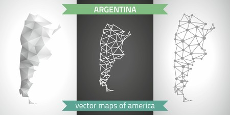Argentina collection of vector design modern maps, gray and black and silver dot outline mosaic 3d map