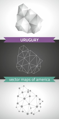 Uruguay collection of vector design modern maps, gray and black dotted outline mosaic 3d map