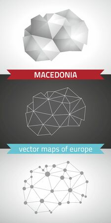 Macedonia collection of vector design modern maps, gray and black and silver dot outline mosaic 3d map