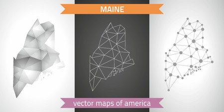 Maine set of gray and silver mosaic 3d polygonal maps.Graphic modern maps.