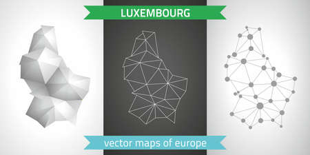 Luxembourg. Set graphic maps of Europe, polygon, gray, mosaic, triangle illustrations Çizim
