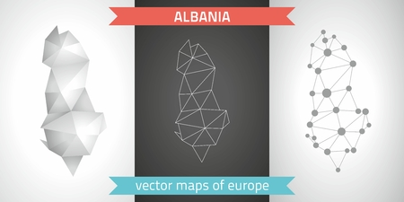 Albania. Set graphic maps of Albania, polygon, gray, mosaic, triangle illustrations Çizim