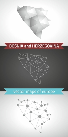 Bosnia and Herzegovina. Set of graphic maps of Bosnia and Herzegovina, polygon, gray, mosaic, triangle illustrations