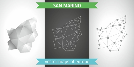 San Marino. Set of graphical vector maps of San Marino, polygon, gray, mosaic, triangle illustrations Çizim