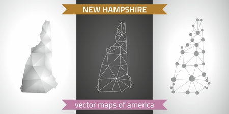 New Hampshire vector set of polygonal mosaic 3d maps, graphic design Çizim