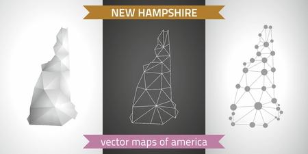 New Hampshire vector set of polygonal mosaic 3d maps, graphic design Illustration
