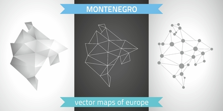 Montenegro graphical vector maps of Montenegro, polygon, gray, mosaic, triangle illustrations
