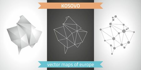 Kosovo gray graphic vector triangle geometry outline shadow perspective maps.Graphic modern maps. Çizim